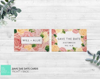 Printed Save the Date Cards | Spring Floral Wedding Stationery | Rose Blooms