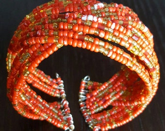 Red multicolored open cuff beaded bracelet