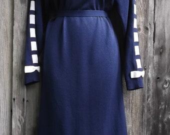 80s Navy Blue Knit Sweater Dress S M Umba for Piat Ltd White Blocks Bows Vintage