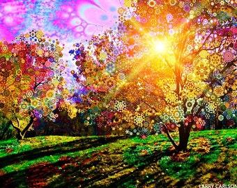 Magnolia Sun - psychedelic fantasy surreal tree art canvas