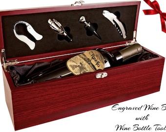 Wine Box, Wine Tools, Custom Wine Box, Anniversary Wine Box, Wine Storage, Wine Ceremony, Engraved Wine Box, Wood Wine Box, Rosewood Finish