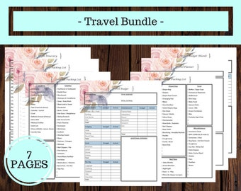 Travel Bundle, Travel Planner, Vacation Planner, Travel Itinerary, Packing List, Trip Planner, Family Vacation Planner, Floral