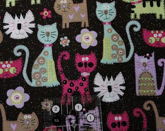"""Stitched Kitty Cats with sparkle on deep brown  42""""-44"""" wide 100% cotton fabric"""