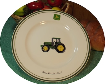 SET of 4 - Vintage John Deere Tractor Dining Plates ~ Gibson Licensed Product - Iconic John Deer Logo ~ Green Rim ~ Country / Farm Decor  sc 1 st  Etsy : john deere dinnerware - pezcame.com