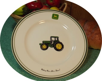 SET of 4 - Vintage John Deere Tractor Dining Plates ~ Gibson Licensed Product - Iconic John Deer Logo ~ Green Rim ~ Country / Farm Decor  sc 1 st  Etsy & John deere plates | Etsy