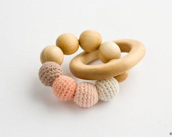 Peach&Mocha Teething Wood Ring - Organic Cotton - Wood Rattle Toy, New Baby Gift, Baby Shower Gift, Newborn - TR09
