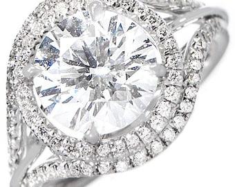 GIA Certified Round Cut Diamond Engagement Ring 4.25ctw Split Shank 18k Gold