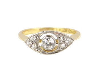 RESERVED - Payment 4/4 Art Deco Diamond Ring, In 18ct Gold And Platinum