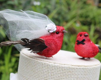 Bird Wedding Cake Topper in Lipstick Red Tinsel: Bride & Groom Love Bird Cake Topper