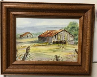 "Old Barn original watercolor painting, ""Bacca Row"" framed"