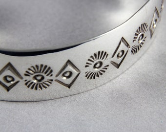 Bracelet - Stamped Sterling Silver Cuff - Women / Men