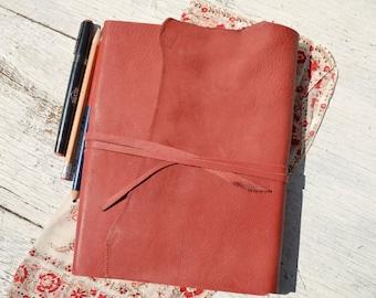 Elegant Handmade Cherry Red Leather Bound Travel Journal Diary Silk Handkerchief (265B)