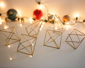 Set of 6 Brass Himmeli Geometric Ornaments