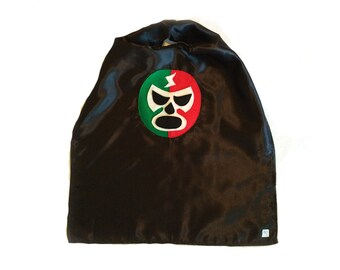 Luchador Rojo + Verde - Red + Green Mexican Wrestler Cape - Black