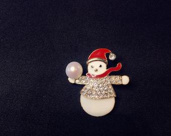 Snowman freshwater pearl cute brooch