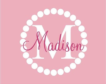 Monogram Name PERSONALIZED initial 22x22 Boys Girls  Vinyl Wall Lettering Words Quotes Decals Art Custom