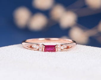 Rose Gold Engagement Ring Baguette Ruby Diamond Cluster July Birthstone Stacking Wedding Band Women Antique Engraving Promise Split Shank