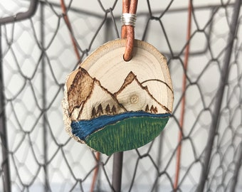 Mountain Stream Necklace•Wood Slice Diffuser•Leather Cord•Woodburned Pendant•Handpainted•Everyday Adventure