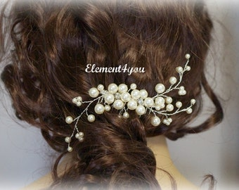 Bridal Hair Comb, Wedding Hair Accessories, Swarovski pearls crystals, Rhinestones, Hand-wired, Ivory Elegant Headpiece, White flower comb
