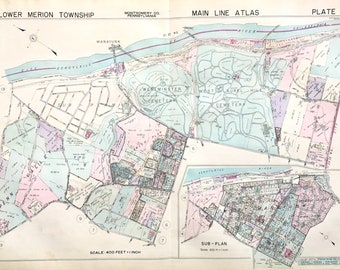 Original Main Line Atlas Map of 1937 Lower Merion Township Montgomery County Pennsylvania Penn Valley West Manayunk