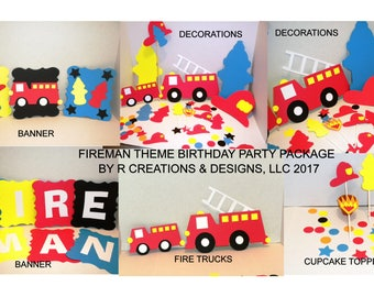 Birthday Party Decoration Package, Fireman Birthday Package, Party Decoration, Fireman Decorations, Birthday Decorations, Party Decorations