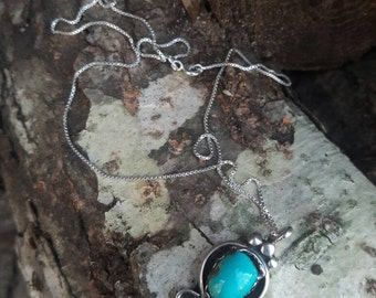 Vintage Turquoise & Sterling Silver Pendant Necklace