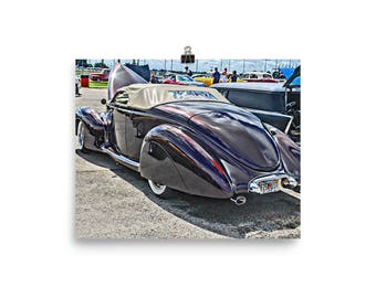 1940 Lincoln Zephyr Art Print, Hot Rod Poster, 40 Lincoln Art, Hot Rod Art, Garage Art, Gift for Guys, Matte Print