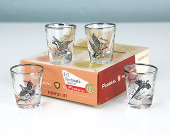 New Old Stock, Federal Glass Company Sportsman's RUMPUS SET of Four Game Bird Themed Shot Glasses in Original Box, Vintage Barware