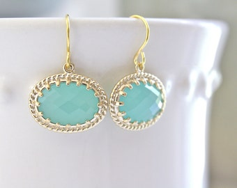 Mint Earrings Gold Earrings Bridesmaids Earrings, Bridesmaid Gifts, Mint and Gold, Mint Wedding, Best friend gifts, Mothers Day Gift