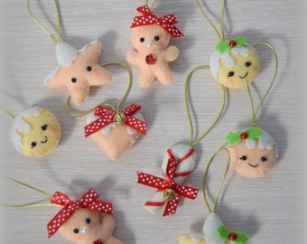 SET of 9 Christmas Ornaments, Christmas decoration, Felt Christmas ornament, Heart, Star