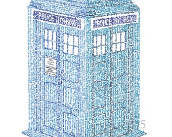"Tardis Micrography Print (""The Doctor's Wife"" by Neil Gaiman)"