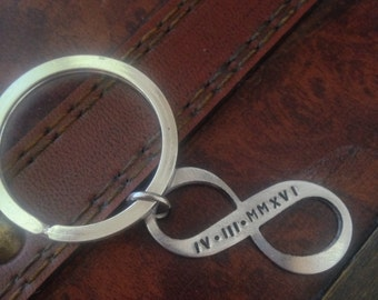 Infinity keychain with Roman Numerals special date long distance relationship handstamped keychain
