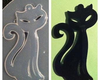 Resin Kitty Cat Pendant Flexible Plastic Mold 65mm x 32mm