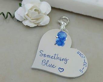 something blue, blue charm, bride gift, blue bouquet charm, something old new borrowed blue, blue heart charm, wedding bouquet photo charm