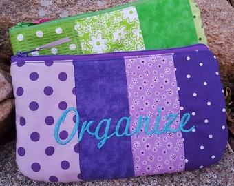 Personalized Cosmetic Bag, Patchwork Budget Organizer, Makeup Bag, Cash Organizer, Bridesmaid gift