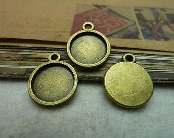 50pcs 12mm Antique bronze bezel cup Jewelry findings wholesale bC7278