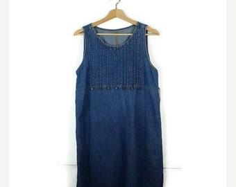 ON SALE Vintage Blue Denim Sleeveless Long Dress from 90's