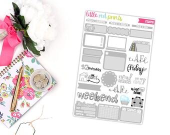 Light Gray Functional Sampler Number 2, Planner Stickers for the Erin Condren Life Planner, Sampler Sheet - [FS0048]