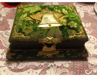 """Antique Green Velvet Brass Bells Beveled Mirrored Wedding Musical Photo Album. Plays two songs """" My Gal is a High Horn Lady"""" and """" Enjoy Yo"""