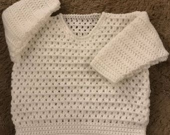PDF Instant Download Baby Crochet Sweater Pattern in DK. Sizes 3 months to 6 Years. (1022)