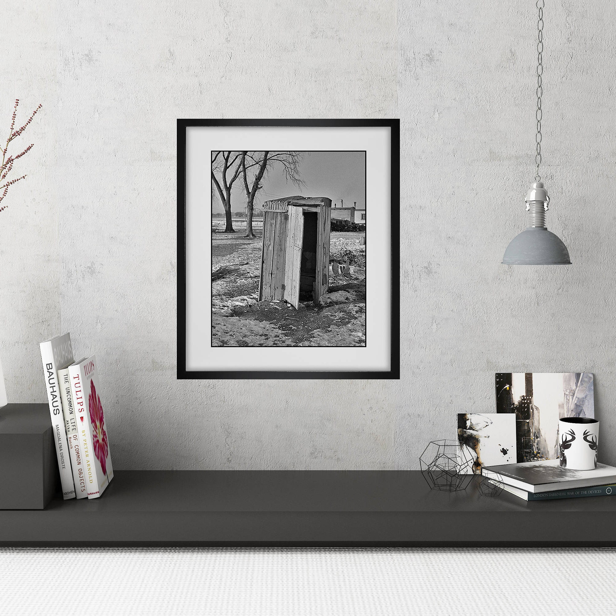 Modern Farmhouse Wall Art / Funny Bathroom Art / Framed Powder Room Prints  / Vintage Black And White Outhouse Photo / Framed Wall Art