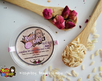 Natural 100% (Hom mali Thai rice)Jasmine gaba rice with rose face mask and scrub 2 in 1 -15 g.
