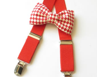 Red Bow Tie and Suspender Set, Red Toddler Suspender Set