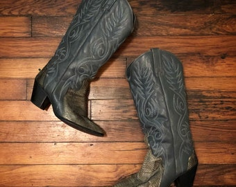Vintage Acme Blue Stitched Leather Snakeskin Country Western Cowboy Boots Women's 6