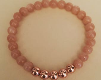 Sunstone gemstone and copper bead bracelet