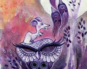 Owl, ghosts, ink illustration, creepy forest, full moon, trippy art, halloween, cute spooky, wise owl drawing, art by phresha, postcard
