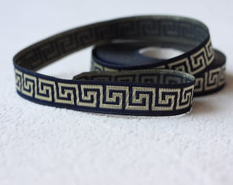 15 mm navy blue and gold Jacquard Border, 5/8  inch wide jacguard, Sewing ribbon, Greek key Jacquard trim, Woven Tape, ribbon per yard