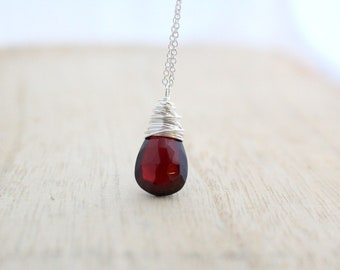 Garnet Necklace in Sterling Silver ,  Genuine January Birthstone Pendant , Gold or Rose Gold , Dainty Necklace