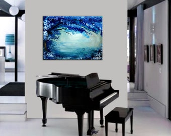 Abstract landscape painting of a blossom blue tree on water - SIMPLICITY IS BEAUTY