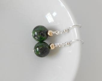 Chrome Diopside Dangle Earrings Natural Gemstone Silver Earrings Green Earrings Gemstone Earrings Gift For Her Statement Earrings